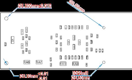 Множество размеров Radial Dimension, размещенных на виде Board Assembly View.