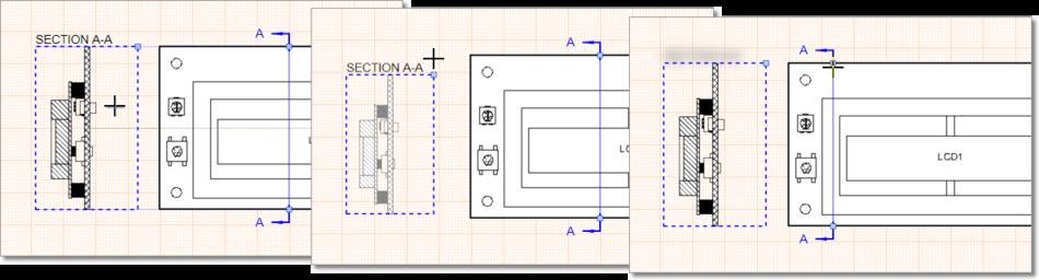 Перетащите выделенный вид Board Section View или его ручки управления для изменения графического представления вида.