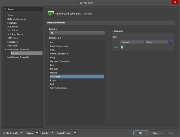 The Rectangle object default settings in the Preferences dialog, and the Rectangle mode of the Properties panel