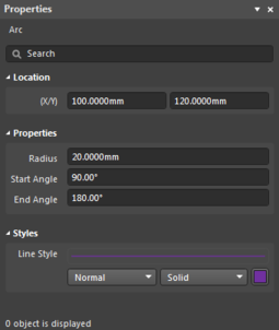 The Arc object default settings in the Preferences dialog, and the Arc mode of the Properties panel