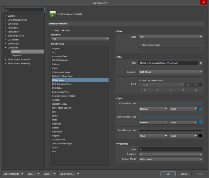 The Detail View default settings in the Preferences dialogand the Board Detail View mode of the Properties panel
