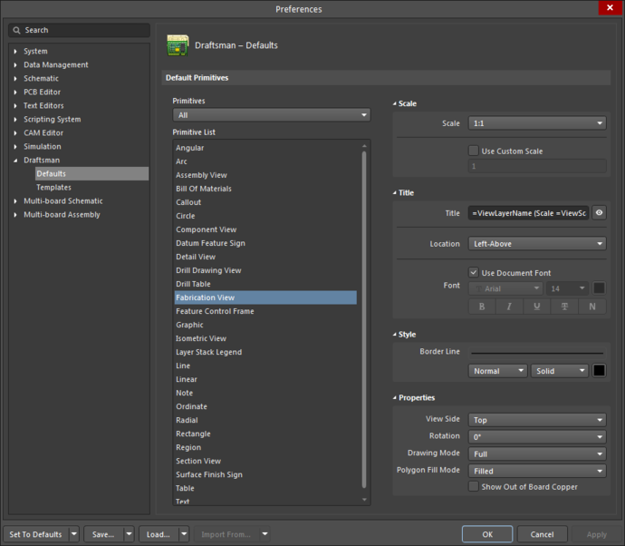 The Fabrication View default settings in the Preferences dialogand the Board Fabricationy View mode of the Properties panel