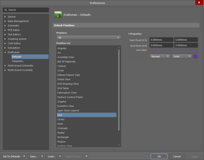The Line object default settings in the Preferences dialogand the Line mode of the Properties panel