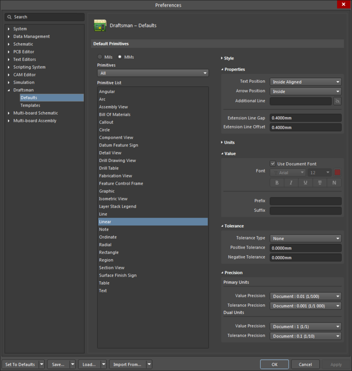 The Linear Dimension settings in the Preferences dialog, and the Linear Dimension mode of the Properties panel.