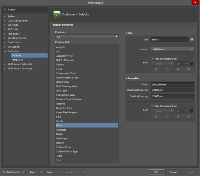 The Note object default settings in the Preferences dialogand the Note mode of the Properties panel