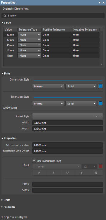 The Ordinate Dimensions settings in the Preferences dialogand the Ordinate Dimensions mode of the Properties panel.