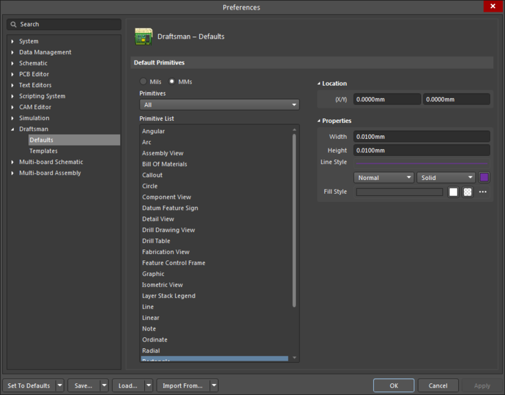 The Rectangle object default settings in the Preferences dialogand the Rectangle mode of the Properties panel