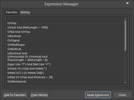 The Expression Manager dialog