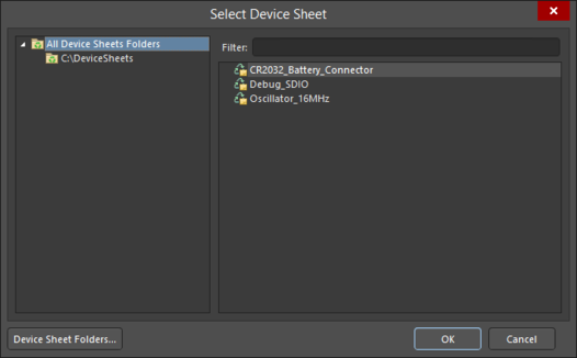 The Select Device Sheet dialog