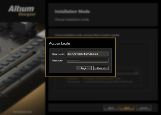 AltiumLiveクレデンシャルを使用してアカウントにログインします。