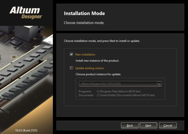 同じバージョンストリーム内のAltium Designerが既にインストールされている場合、そのバージョンを更新できます。  または、別のバージョンとしてインストールすることもできます。
