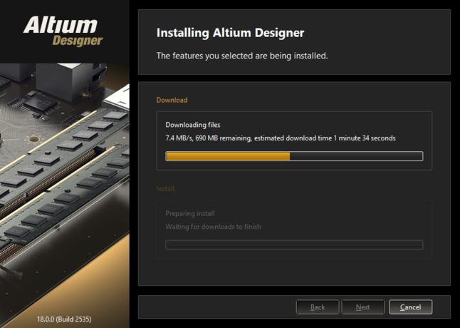 インストールの最初に、必要なインストールファイルのダウンロードが行われます。