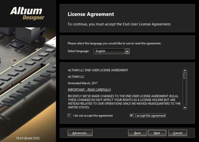 Altiumの使用許諾契約をご覧頂き、同意します。