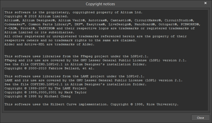 The Copyright notices dialog