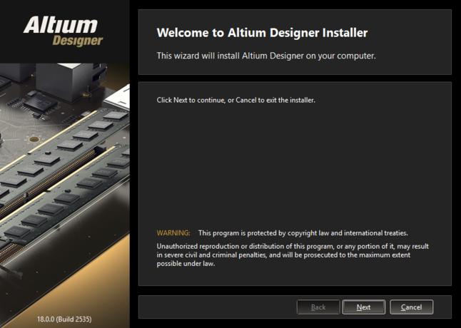 Altium Designerインストーラーの最初のwelcomeページ。