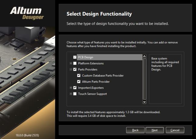 Altium Designerのインストールに最初から含める機能を有効にします。この設定は、必要に応じて後から変更できます。