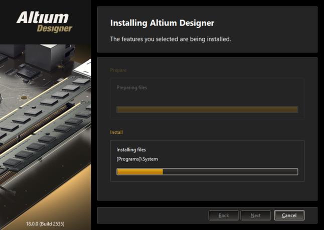 ファイルの準備が完了したら、ソフトウェアのインストールが行われます。