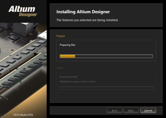 インストールの最初に、必要なインストールファイルの準備が行われます。