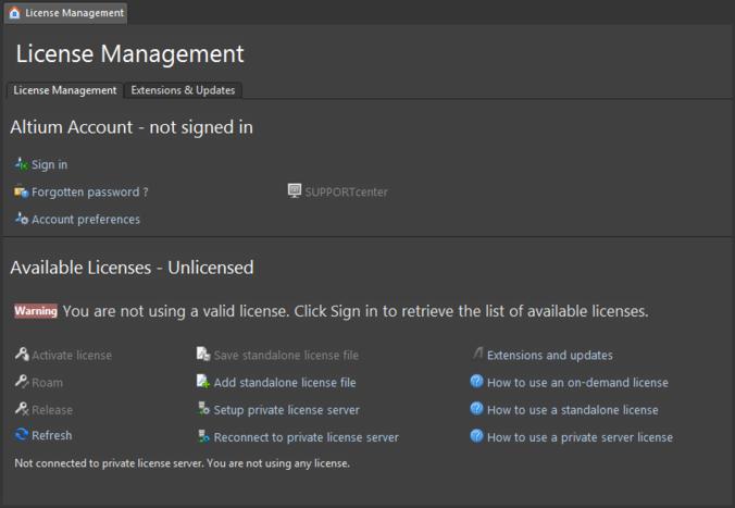 [License Management] ページ - Altium Designerのライセンス取得に関する操作を行います。