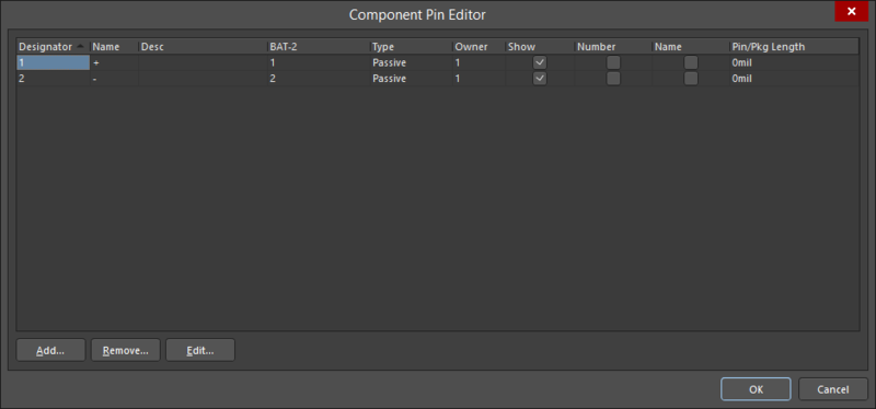 The Component Pin Editor dialog