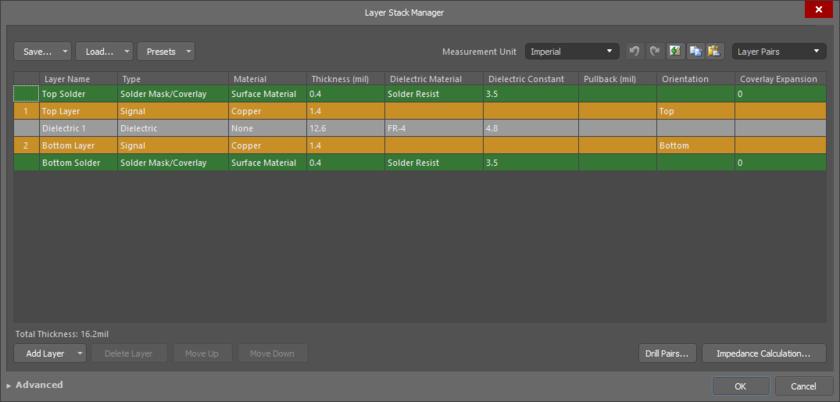 Управление структурой слоев осуществляется в Layer Stack Manager. Здесь показана единственная структура по умолчанию новой платы.