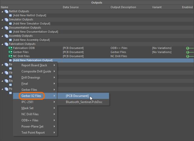 Configure a Gerber X2 Files output as part of an Output Job file's Fabrication Outputs.