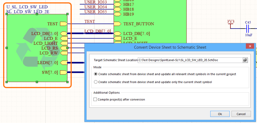 Specify details of the conversion in the Convert Device Sheet to Schematic Sheet dialog.