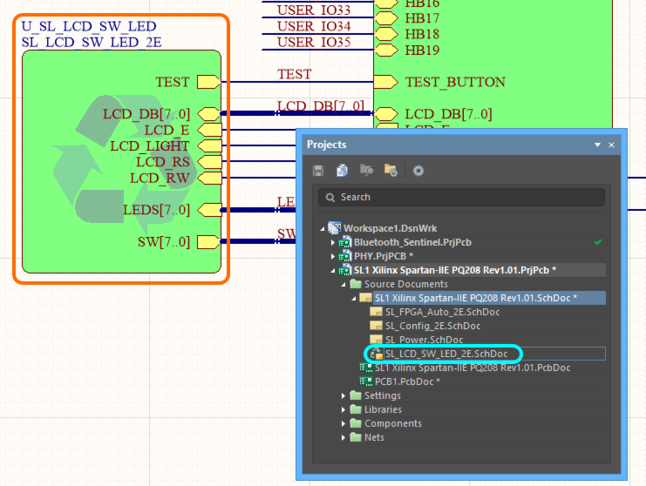 Recompile the project to have the device sheet appear correctly in the design hierarchy.