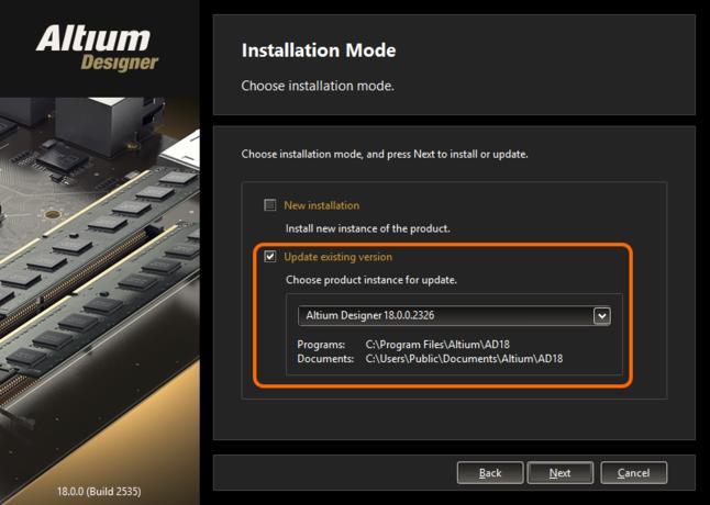 Выберите обновление установленной версии Altium Designer в процессе установки более новой версии.