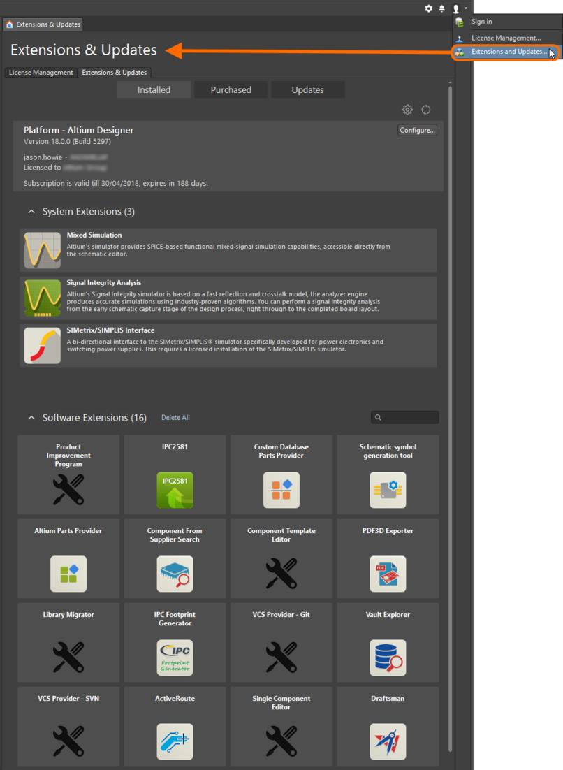 Доступ к интерфейсу Extensions & Updates для эффективного управления возможностями системы.