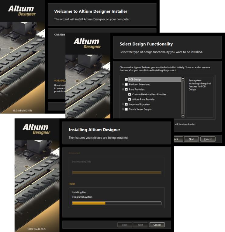 Последовательная установка с помощью Altium Designer Installer.