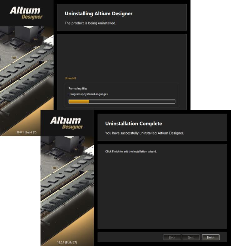 Процесс удаления Altium Designer в действии.