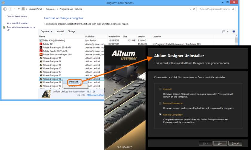 Процесс удаления ПО с помощью Altium Designer Uninstaller прост и прямолинеен.