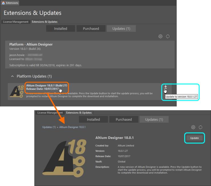 Обновление до более новой версии непосредственно в Altium Designer.