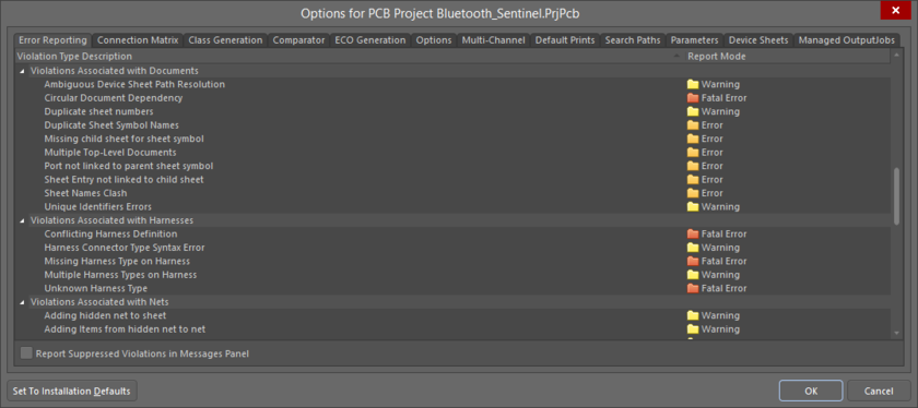 Checking the Error Reporting settings in the Project Options dialog.