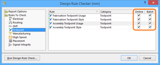 Include testpoint design rules as part of the Online or Batch DRC processes.