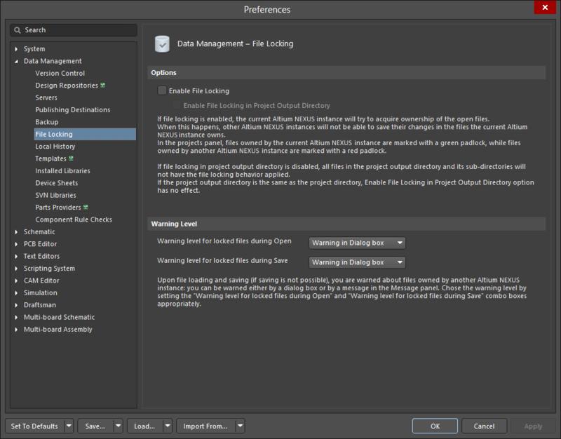 TheData Management - File Lockingpage of thePreferencesdialog