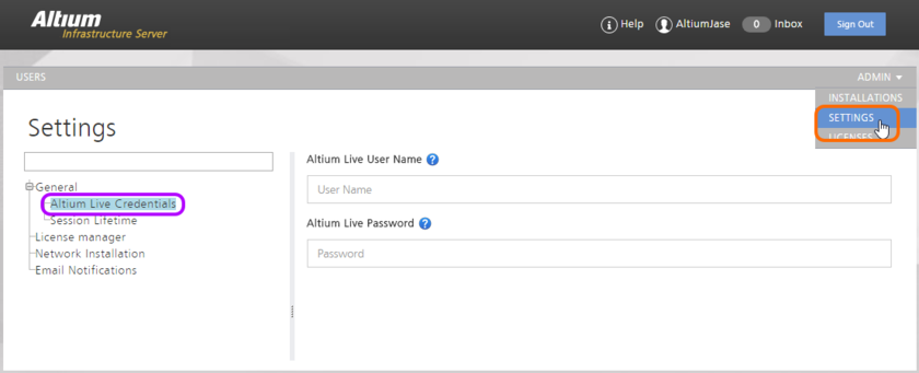 Enter your AltiumLive credentials as part of the general settings for the Infrastructure Server. These are required to be able to acquire Altium products and extensions from  Altium's secure storage in the cloud (the Altium Cloud Repository, if you will). Hover over the image to see an example of these fields filled in. Remember to click the Save button  to effect the changes made to this page.