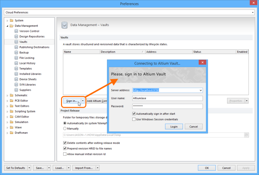 Sign-in to your Altium Vault from the Data Management - Vaults page of the Preferences dialog.