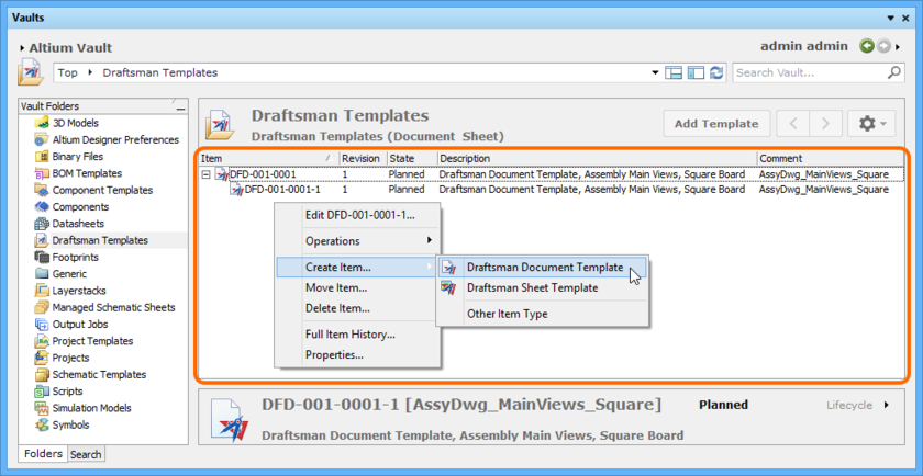 Right-click within the Item region of the Vaults panel to access commands relating to Item creation.