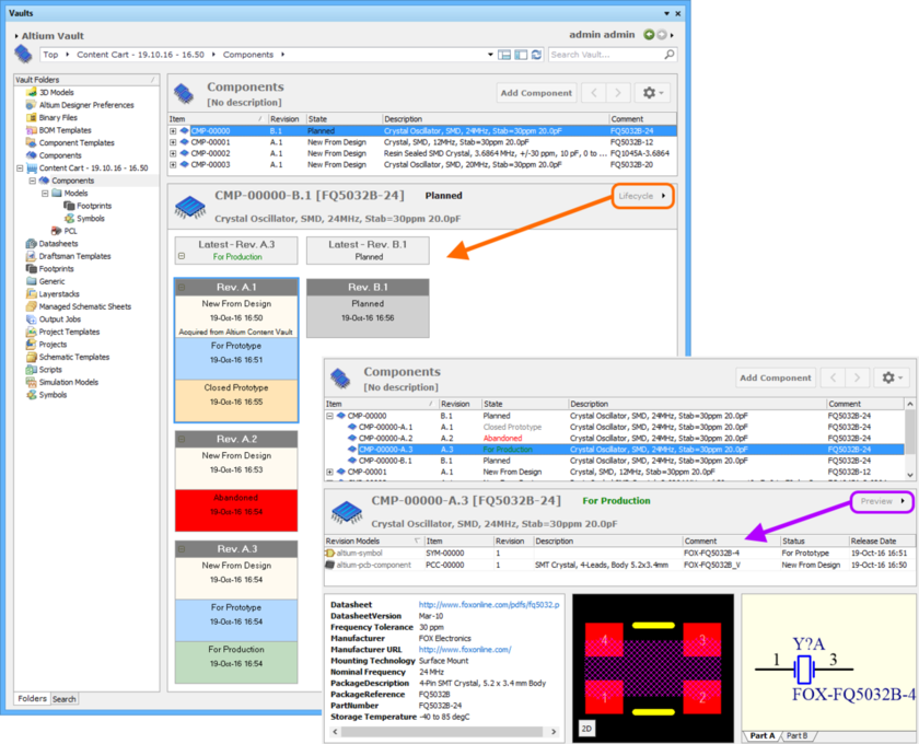Access lifecycle and release data for an Item Revision directly through the Vaults panel, using the Lifecycle and Preview aspect views respectively.