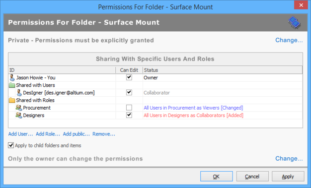 Example changes made to the permissions list for a folder, for the Vaults panel interface.