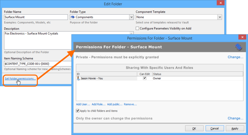 Access the Permissions For Folder dialog, with which to control how the folder is shared with others.