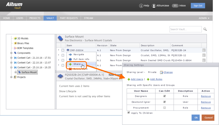 Configure Item-level sharing from the vault's browser-based interface