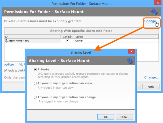 Set the level of sharing for the folder. Roll over the image to compare access through Vaults panel, with access through  browser-based interface.