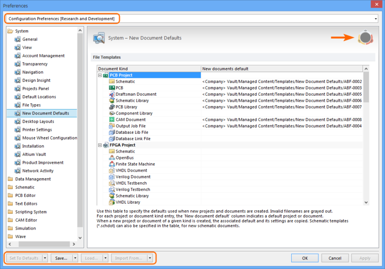 Preferences that have been loaded from an applied Environment Configuration are indicated by a Configuration Name and Icon in the Preferences dialog.
