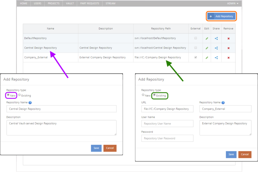 Create a new SVN-based Design Repository, or link to an existing one.