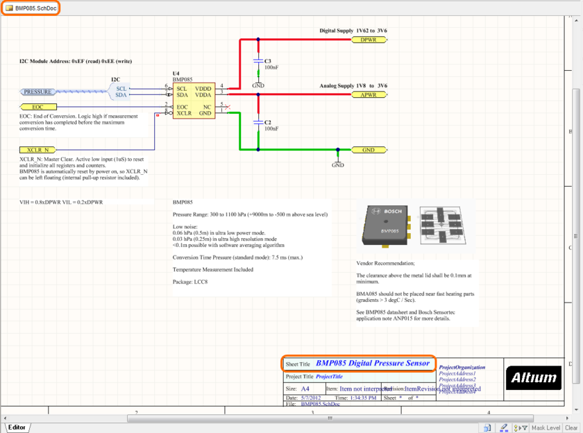 Example managed sheet, featuring a BMP085 component.
