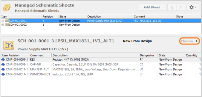 Browse the constituent components on the managed sheet, through the Children aspect view.