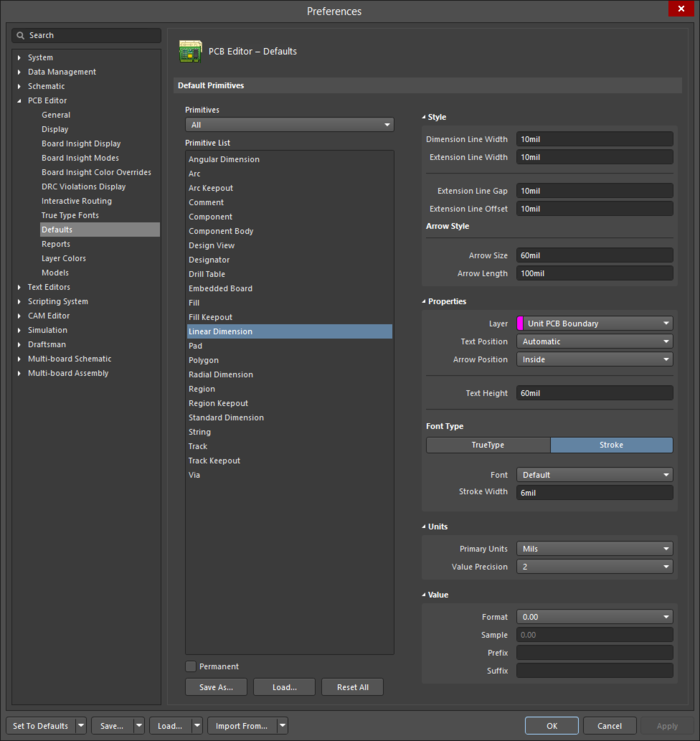 The Linear Diimensiondefault settings in thePreferencesdialog and theLinear Diimensionmode of the Properties panel